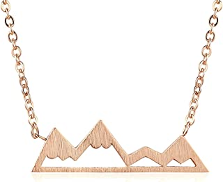 Mountain Necklace for Women, Mountains and Outdoor Lovers Gifts, Mountain Range Necklace in Rose Gold, Gold, Carbon Black, Or Silver, Mountain Jewelry, Nature Necklace