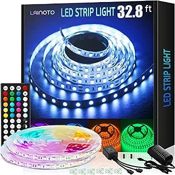 LED Strip Lights 16.4ft x 2 Rolls 5050 RGB 32.8ft Color Changing Lights Flexible Tape 300 LEDs Light Strips Kit with IR Remote Controller Power Kit for Home Bedroom Kitchen DIY Decoration