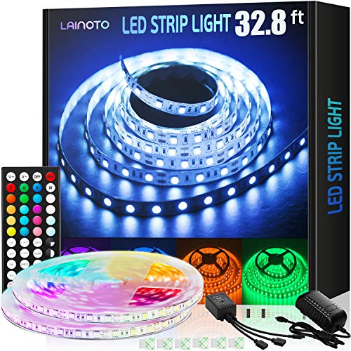 LED Strip Lights 16.4ft 5050 RGB Color Changing Lights Waterproof Flexible Tape 150 LEDs Light Strips Kit with 44 Keys IR Remote Controller and 12V Power Kit for Home, Bedroom, Kitchen,DIY Decoration