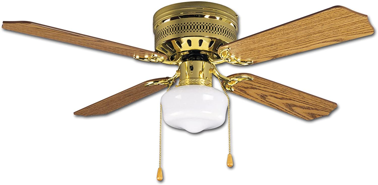 Litex CC42BB4L Celeste Collection 42-Inch Ceiling Fan with Four Reversible Oak Mahogany Blades and Single Light kit with White Opal Glass