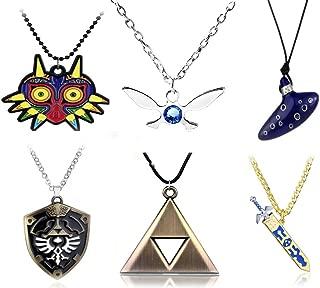 Non-Branded 6pcs Inspired Necklaces Trioforce,Majora's Mask,Navi Necklace,Shield,Sword & Flute Blue Instrument