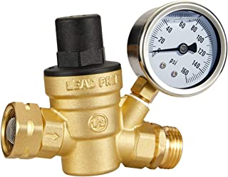 Esright Brass Water Pressure Regulator 3/4 Lead-Free with Gauge for RV Camper Adjustable Water Pressure Regulator,Build-in Oil (NH Threads)