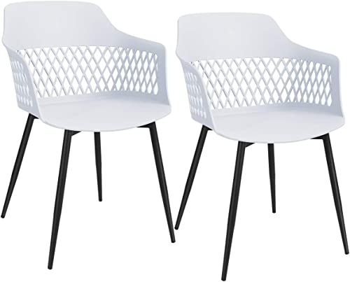 popular Giantex Set of 2 Modern Dining Chairs, Hollow Back Plastic Arm Chair w/Sturdy Metal Legs, Dining Room Chairs Arm Chair for Kitchen, sale Dining Room, Living Room (1, high quality White) outlet online sale