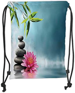 Drawstring Backpacks Bags,Spa Decor,Spa Theme Picture with Lily Lotus Flower And Rocks Yoga Style Purifying Your Soul Theme,Blue Pink Green Soft Satin,5 Liter Capacity,Adjustable S