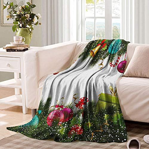 Christmas Blankets Snowy Winter Xmas Time Happy New Year Greeting Presents Bells Leaves Garland Fluffy Comfy Warm Heavy Throws for Bedding 90'x70' Multicolor