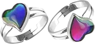 Acchen Mood Ring Heart Shaped Changing Color Emotion Feeling Finger Ring 2 Pcs with Box