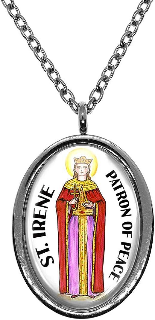 Saint Irene Patron of Peace Steel Pendant Necklace