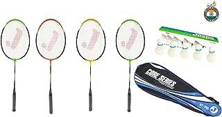 Jaspo Core-JS-600(4 Badminton Rackets; 5 Feather Shuttlecock;1 Badminton Bag