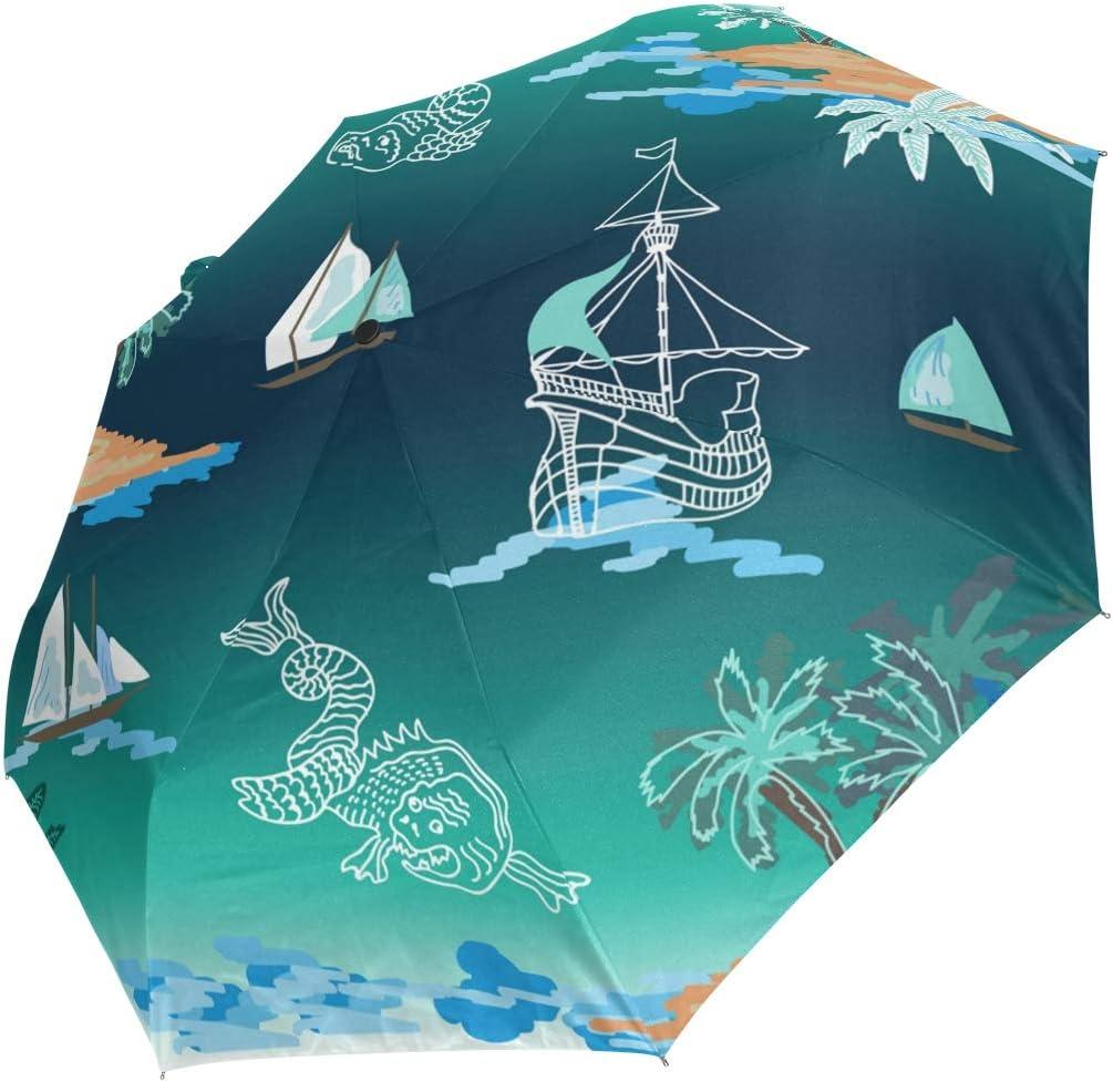 Mini Folding Umbrella Green Watercolor Win Island Sale item Special sale item Tree Ship Fish