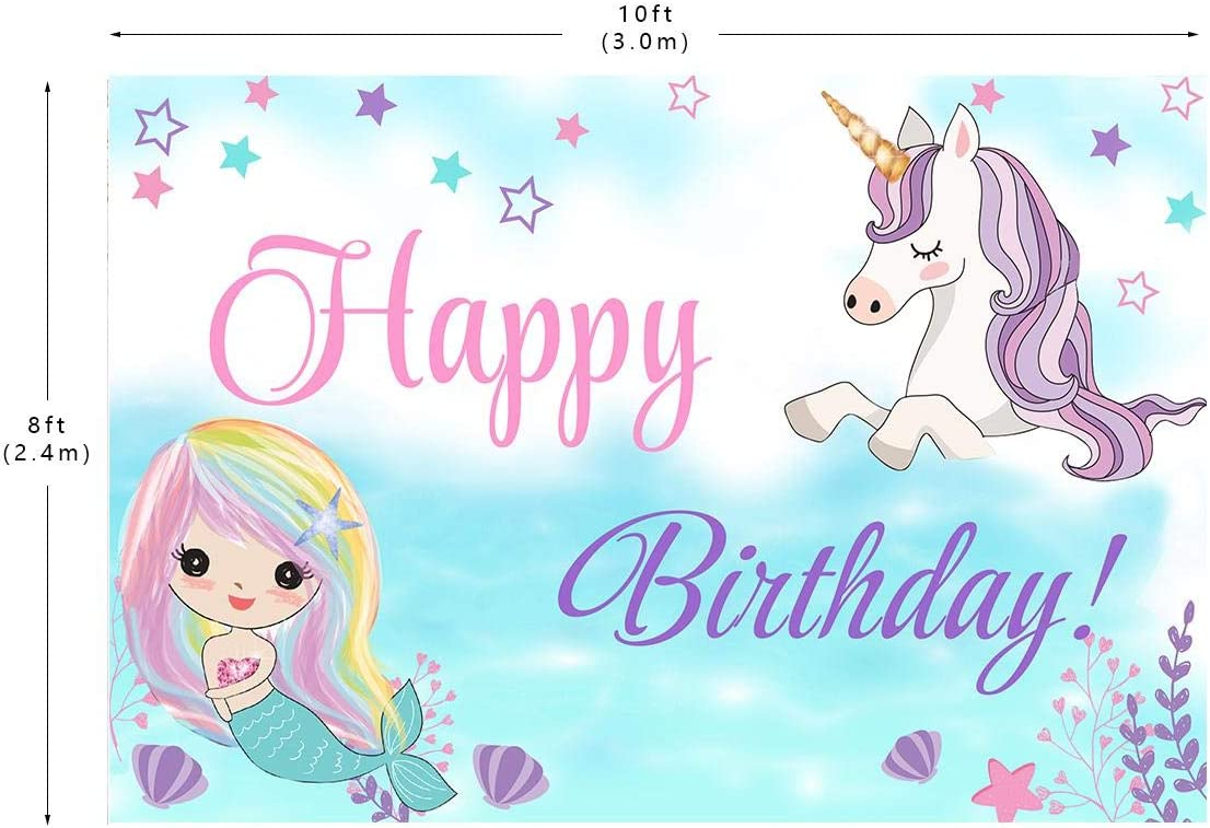 Birthday Photo Backdrop Kids Unicorn Rainbow Photography Background Studio Props 10X8ft