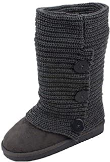 Sunville Women's Faux Suede Boot with Rib-Knit Sweater (Crochet) Exterior