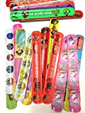 50 braccialetti-slap assortiti per confezione faccia sorridente, simpatica Capretta, Biancaneve, Angry Birds, il Design è casuale Il listino è di 50 braccialetti-slap per ordine anche se l'immagine mostrata potrebbe contenerne meno di 48