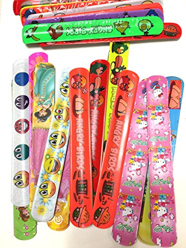 Monicaxin 50 Mega Confezione di Braccialetti-Slap Assortiti, a forma di faccia sorridente, simpatica Capretta, Biancaneve, Angry Birds (48 Assorted Slap Bracelets- Mega Pack/IT)