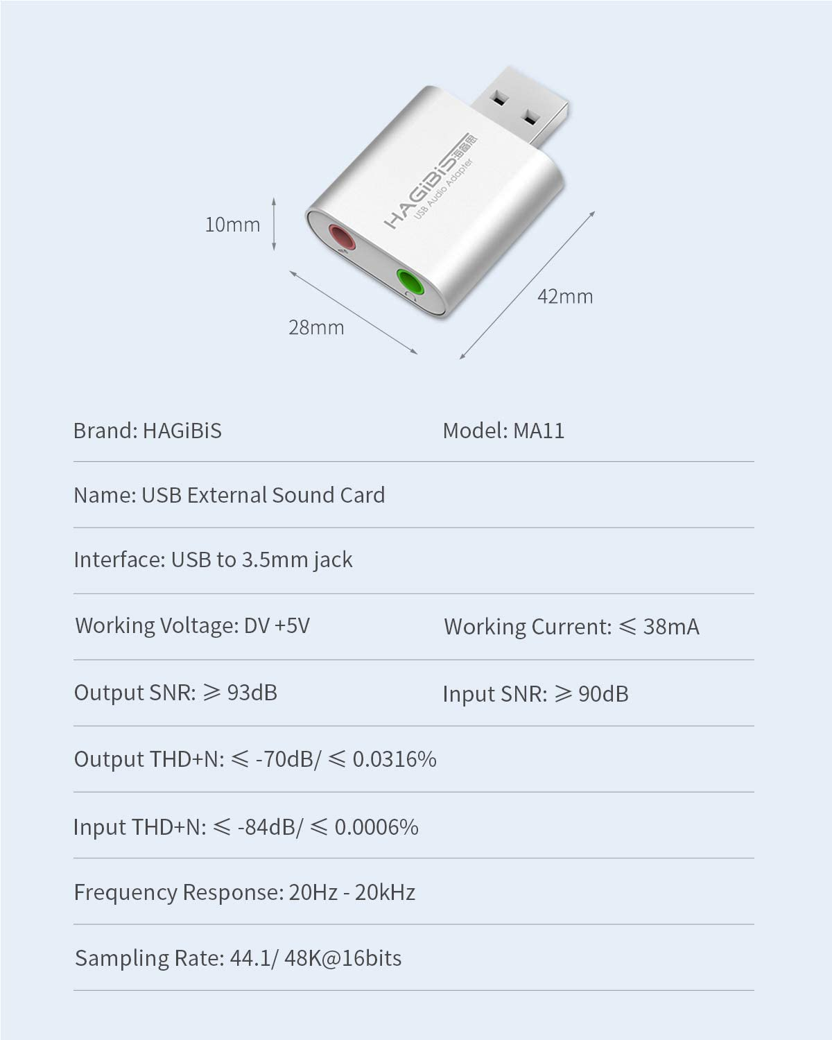 Hagibis USB External Sound Card Adapter 2 in 1 USB to 3.5mm Jack Headphone and Microphone Jack Audio Adapter Mic Stereo Sound Card for Windows, Mac, Linux, PC, Laptops, Desktops, PS4,PS5 (White)