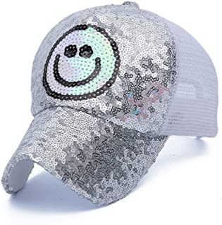 MKJNBH Shiny Sequins Baseball Caps Women Men Couple Summer Breathable Mesh Sunscreen Hats