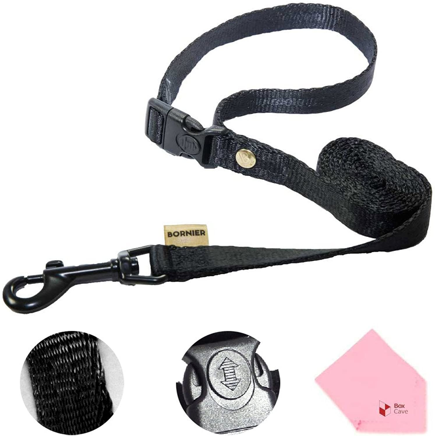 BORNIER Smart Dog Smooth Walking Leash with Quick Release Buckles, 47.2'' Length (Comes W BoxCave Microfiber Cleaning Cloth) (L, Black)