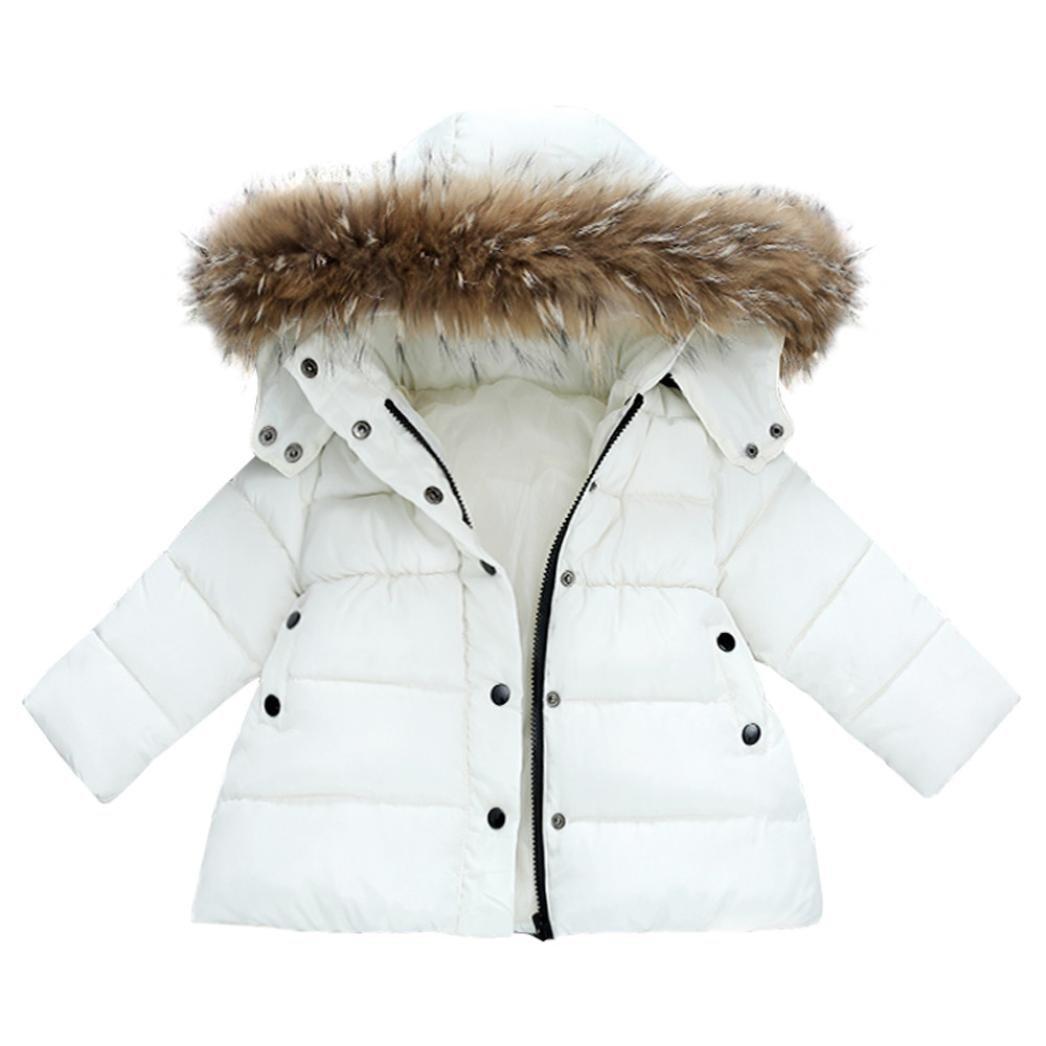 KEERADS Baby Boys Girls Snowsuit Winter Warm Zip Button Hooded Down Jacket Outerwear Baby Coat