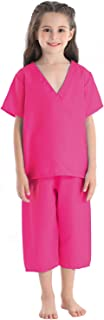 Fedio Kid's Scrubs Doctor Role Play Costume Dress up Set for Toddler Children (Hot Pink)