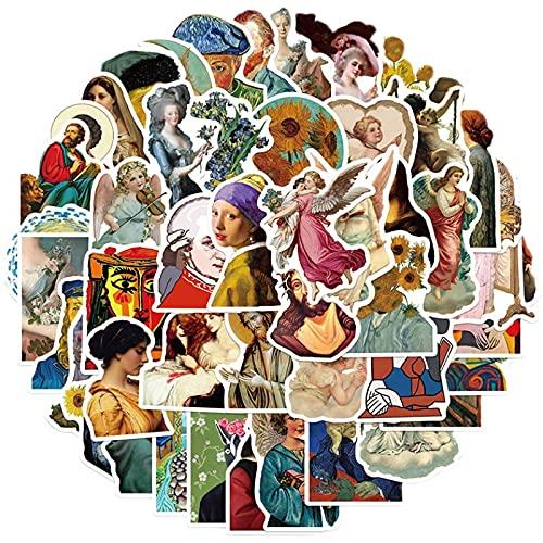 ZNMSB 50 Pinturas Famosas de Artistas, Pegatinas de Graffiti, Maleta Decorativa, Cuaderno de Motocicleta, Pegatinas Impermeables DIY