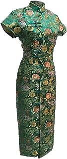 Women's VTG Green Ten Buttons Long Chinese Dress Cheongsam