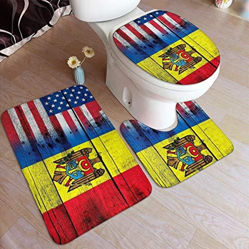 Drapeau de la Moldavie Tapis de salle de bains en flanelle confortable Ensemble de 3 pièces antidérapantes souples avec support Tapis de bain + Tapis contour + Couvercle de couvercle de toilette absor