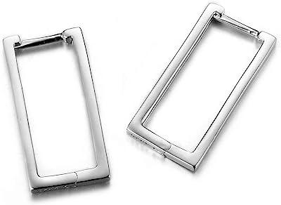 Lotus Fun S925 - Orecchini in argento Sterling con forma geometrica semplice, creativa, realizzati a mano, gioielli unici per donne e ragazze