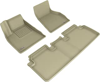 3D MAXpider Custom Fit Complete Set All-Weather Floor Mats for Select Tesla Model S Models - Kagu Series (Tan)