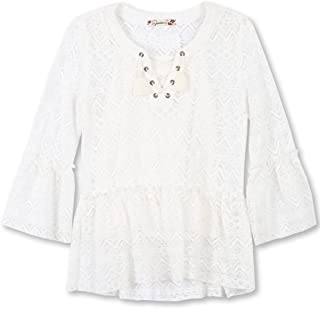 Speechless Big Girls' Front Lace Bell Sleeve Top