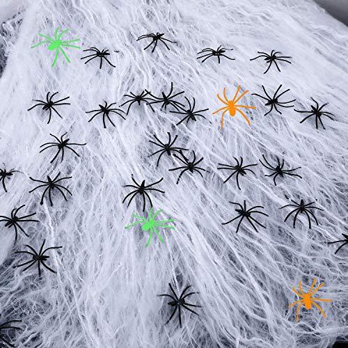 Weekend&Lifecan Halloween Spinnennetz, Halloween Deko Spinnennetz, Halloween spinne deko (white-20pcs-02)