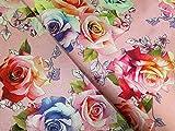 Minerva Crafts Brokatstoff mit Blumenmuster, Digitaldruck,