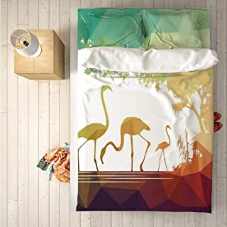 Wildlife Decor Comfortable 4 Piece Bedding Set,Modern Flamingo Figures in Digital Art with Polygonal Featured Shadow Effects for Hotel,One Side Print : Double