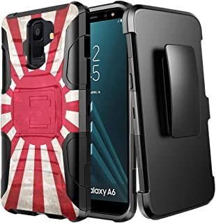 Moriko Case Compatible with Galaxy A6 [Rugged Hybrid Dual Layer Heavy Duty Combat Belt Clip Shockproof Kickstand Holster Black Case Cover] for Samsung Galaxy A6 2018 (Japan Vintage Flag Rising Sun)