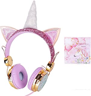 SiegenPro Kid Girls Headphones Unicorn with Microphone for Girls Children Teens Cartoon Unicorn Earphone with HD Sound 3.5...