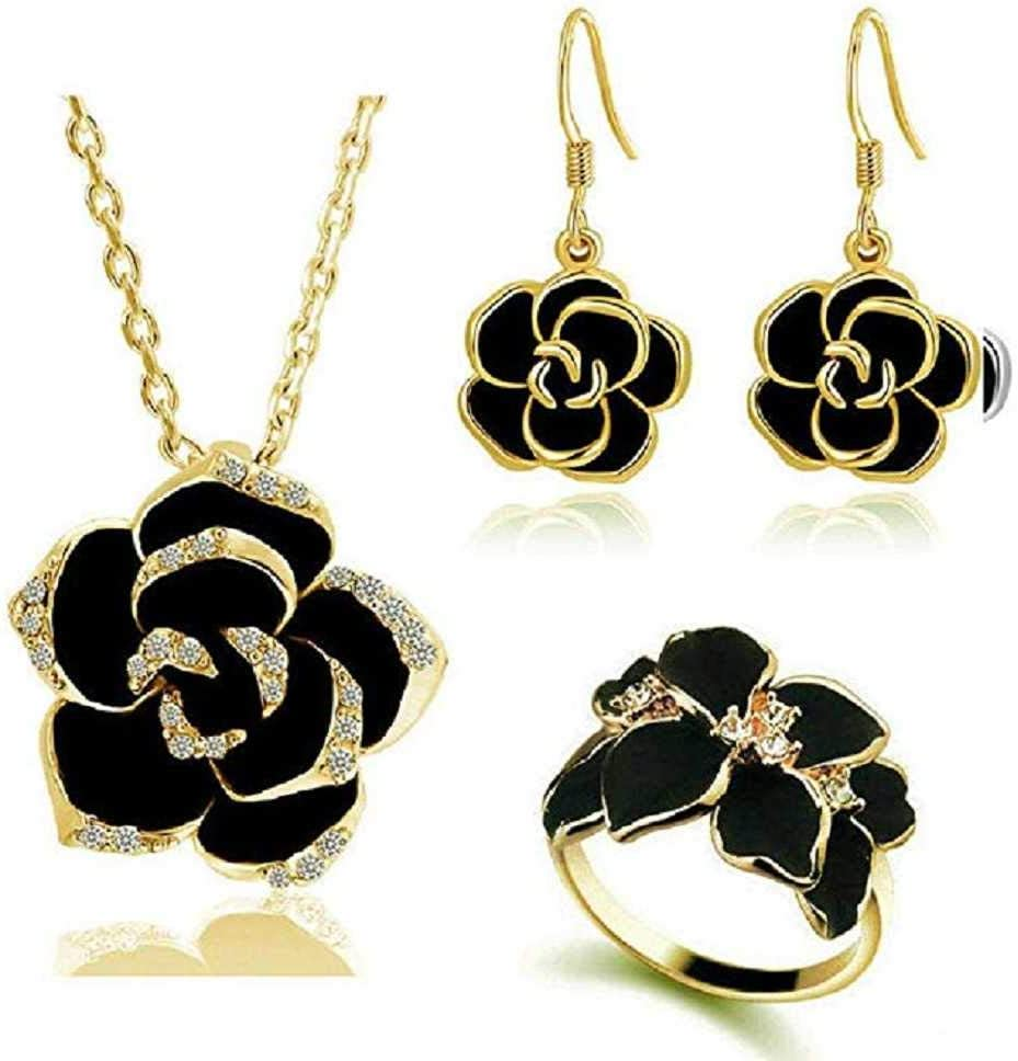 MERSDW Women's Necklace Earrings Ring Jewelry Three-Piece Set Beautiful Black Rose Camellia Ring Necklace Earrings Jewelry Set Cloth Small Fresh Pendant Female (Gold)
