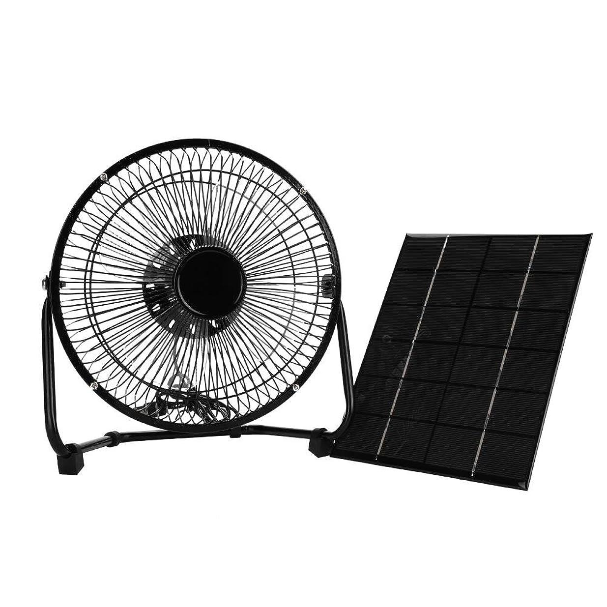 適切に階藤色ミニソーラーパネルファン 多機能 USB 8inch 5.2W 6V 冷却ファン+太陽電池パネル 屋外旅行 ソーラーアクセサリー ブラック
