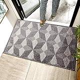 Chrider Indoor Doormat, 24'x36' Door Mats for Home Entrance, Machine Washable Entryway Rug, Outdoor & Indoor Welcome Mat, Non Slip Rubber Backing, Dirt and Dust Absorber(24'x 36', Grey-Geometric)