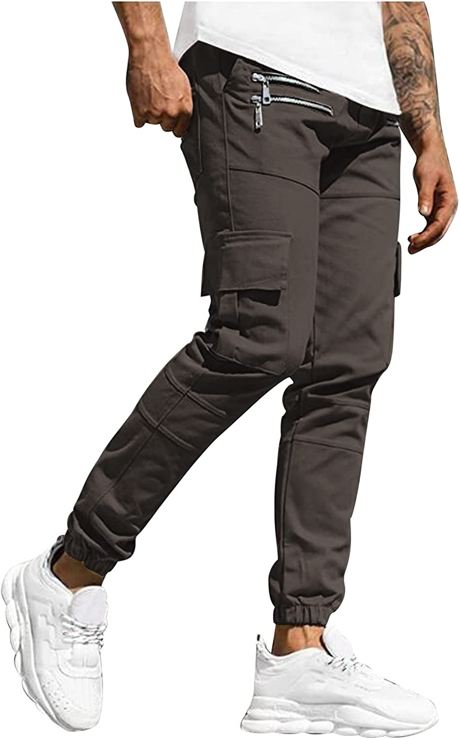 Beshion Mens Joggers Sweatpants with Zipper Pockets Slim Fit Casual Athletic Long Pant Tactical Pants Outdoor Trousers