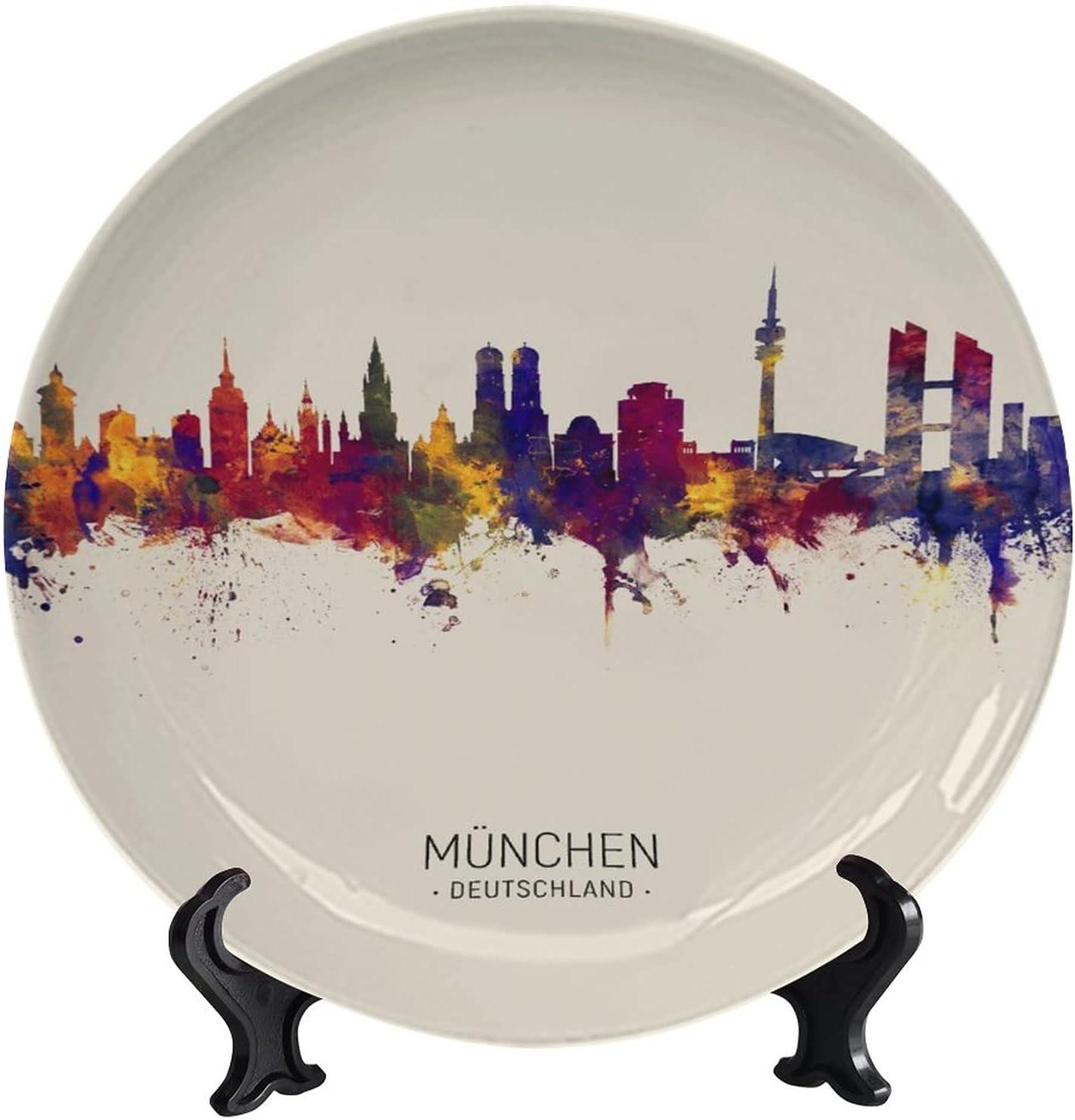 Popularity wonderr Munich Germany Skyline Waterc Fresno Mall Vintage Decorative Plates