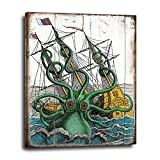 Kraken Octopus Canvas Wall Art 16x20 - Vintage Wood Sign Replica Artwork - Nautical Themed Decor - Unique Decoration for Beach House, Lake House, Vacation Home - Gift For Ocean Lovers, Steampunk Fans