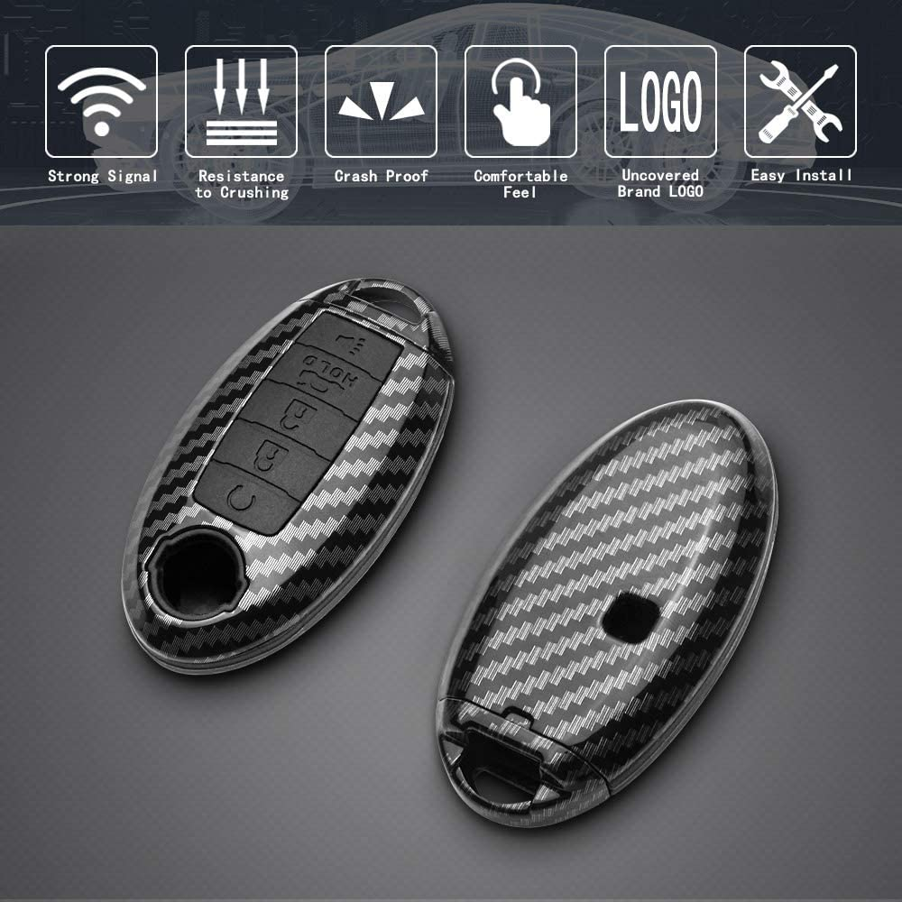 TANGSEN Key Fob Case Grey Carbon Fiber Pattern ABS Black Silicone Cover for INFINITI JX35 Q50 Q60 QX56 QX60 QX80 for NISSAN ALTIMA ARMADA MAXIMA MURANO PATHFINDER ROGUE 5 Button Keyless Entry Remote
