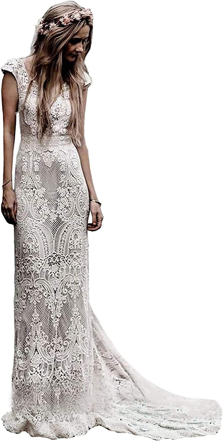 iluckin Vintage Women's V Back Sleeveless Mermaid Wedding Dresses with Train Lace Bridal Ball Gown for Bride Plus Size