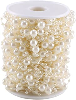 FJSM Artificial Pearls String Beads Chain 100 Feet Fishing Line Roll Ivory Faux Pearls Beads Garland for Craft Pearls Flowers Wedding Party Decorative