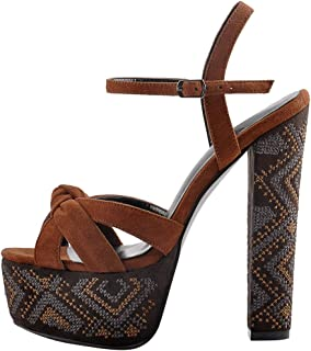 Women's Platform Chunky High Heel Open Toe Ankle Strap Embroidery Sandals