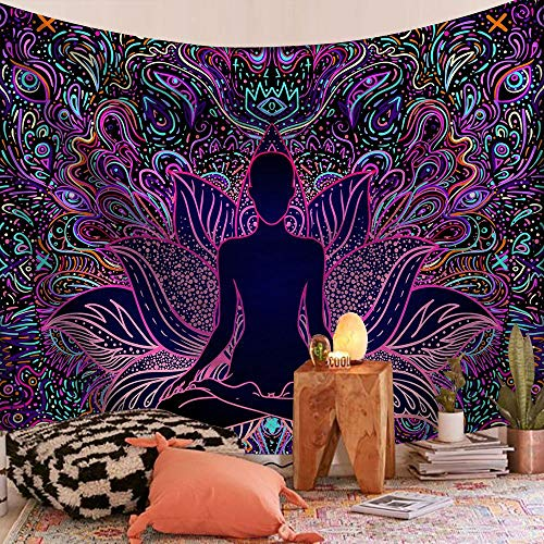 KHKJ Tapiz de Mandala Indio para Colgar en la Pared, Manta de Alfombra de Playa de Arena, Tienda de campaña, colchón de Viaje, tapices Bohemios A15, 200x150cm