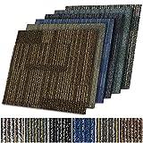 Linz - Moqueta en losetas de suelo para oficina y hogar, 50 x 50 cm, estampado (azul 05)