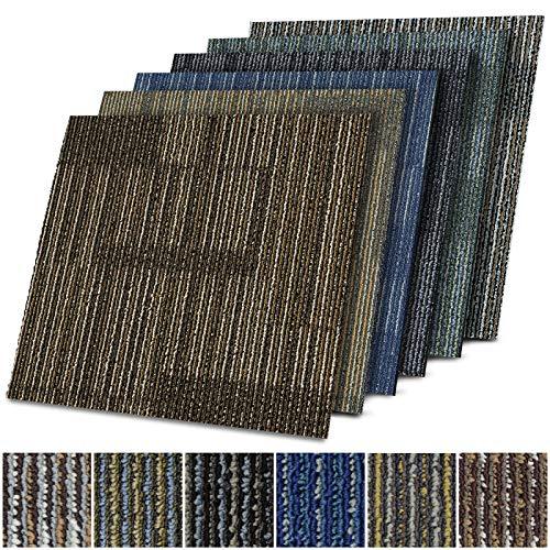 Teppichfliesen Linz | selbstliegend | Strapazierfähig und pflegeleicht | Bodenbelag für Büro und zu Hause | 50x50 cm | Gemustert (Blau 05)