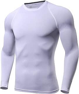 Men's Compression Baselayer Tops Crewneck Long-Sleeve Moisture-Wicking Undershirts