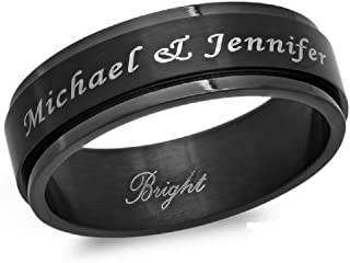 Free Engraving Personalized 8mm Stainless Steel All Black IP Spinner Ring