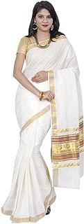 Women's Dynamic Kerala Kasavu Peacock Lace Brocade Work Pallu Saree With Blouse