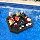 Polar Whale Floating Refreshment Table Tray and Drink Holder for Pool, Hot Tub Beach Party Float Lounge Durable Black Foam 9 Compartment UV Resistant with Cup Holders 23.5 Inch